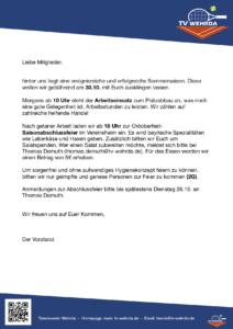 Erinnerung an den Arbeitseinsatz und Einladung zur Saisonabschlussfeier am 30.10.